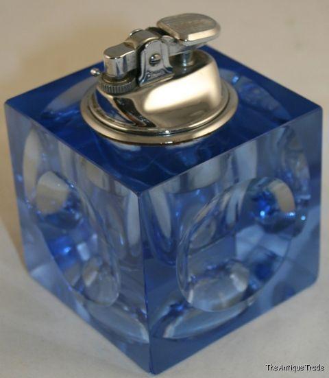 Vintage Blue Glass Cube Penguin Table Top Lighter Our Price 33 26 Light Table Glass Table Glass Cube