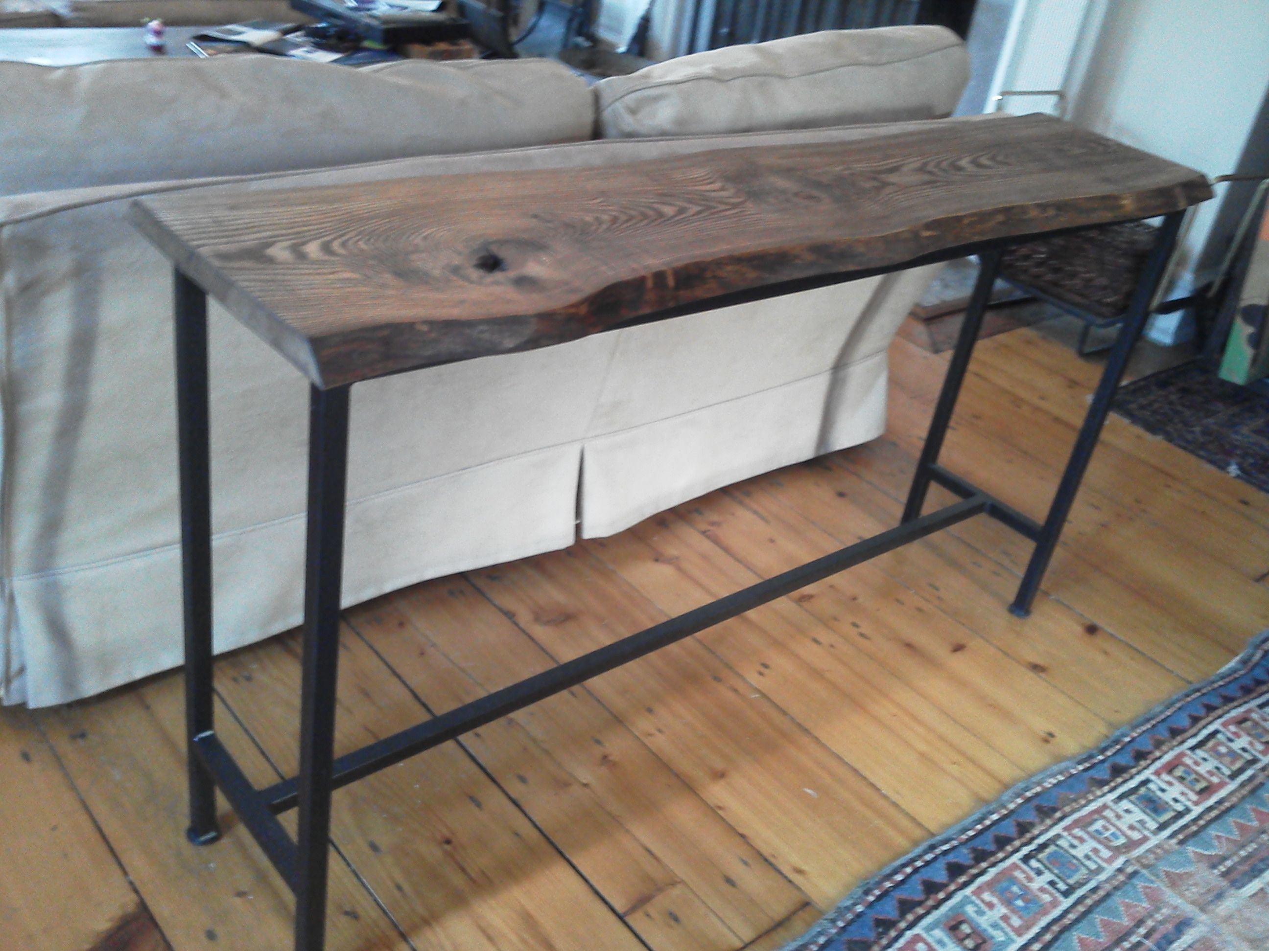 Wooden Sofa Table Legs Amazon Set 5 Seater Live Edge Oak Console With Iron Base Tables