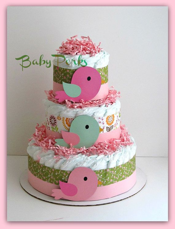 Bird diaper cake baby girl baby shower nesting baby for Baby diaper cake decoration
