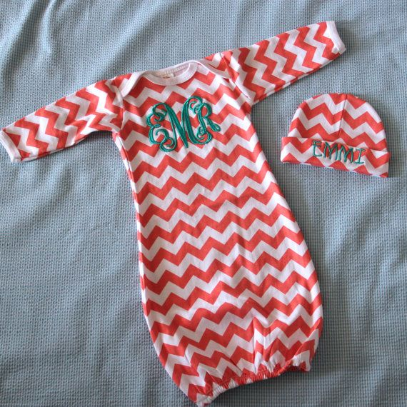 chevron monogrammed baby gown and beanie - colored gown - personalized - infant