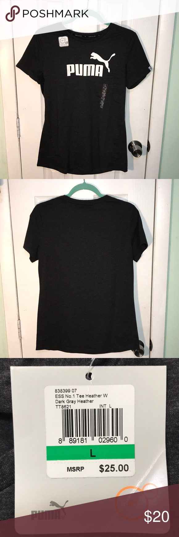 new product 9856e 9f6e2 Women s Boyfriend Logo T-Shirt Short sleeve dark gray Heather Puma tee.  Never worn! Puma Tops Tees - Short Sleeve