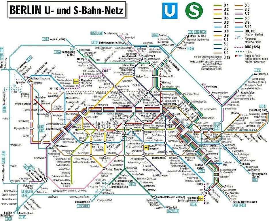U Bahn Und S Bahn Berlin History Wall Berlin Berlin City - Berlin-us-bahn-map