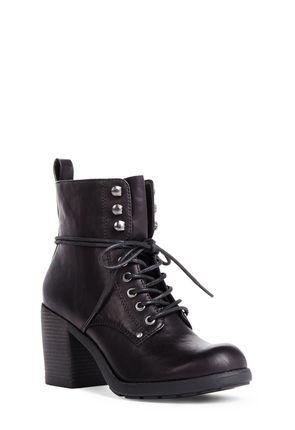 SERIKA Black Lace-Up Heeled Boots on JustFab