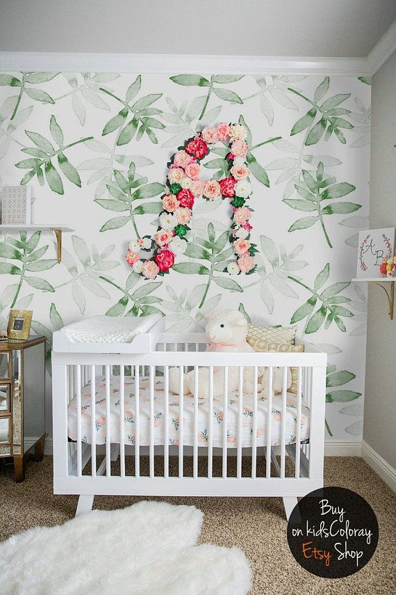 Green, Leaves wallpaper, Tropical, Plants wall mural, Kids