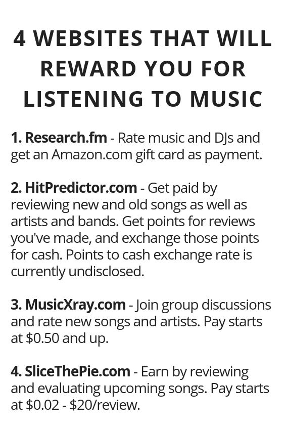 4 Websites That Will Pay You For Listening To Music Money Making Hacks Life Hacks Websites How To Get Money