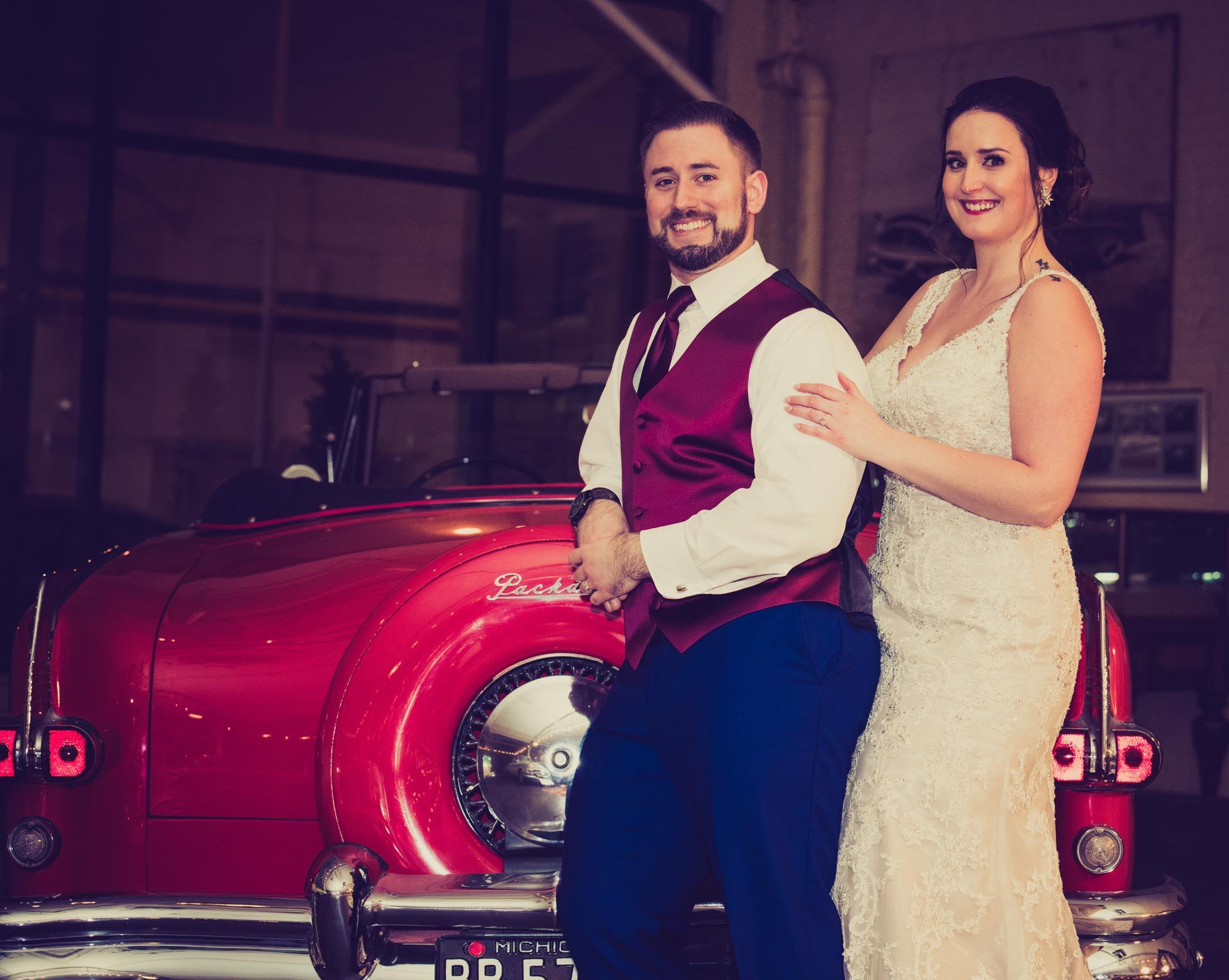 Vintage car wedding photography packard museum Dayton Ohio