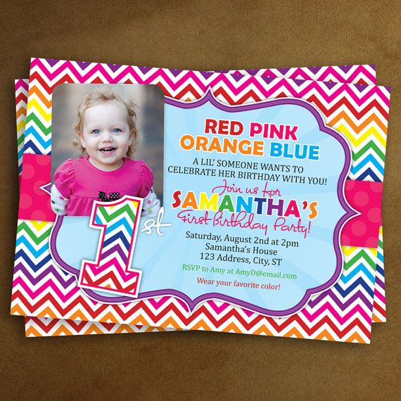 20 Sassy Chevron Rainbow First Birthday Party Invitations With Photo Any Color On Etsy 1800