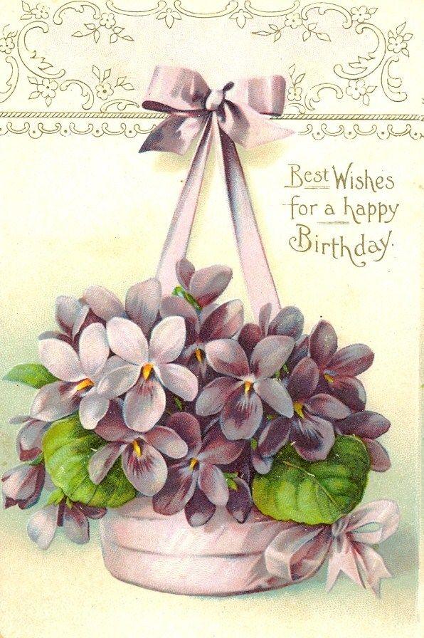 Hanging Basket Of Violets Birthday Sentiment Vintage Birthday