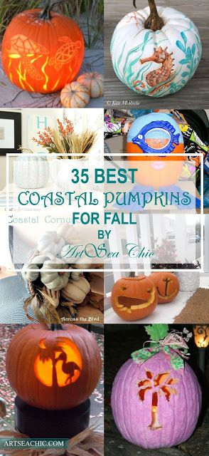 35 Best Coastal Pumpkins for Fall // From painting and etching to mod podge and sand, there's sure to be a pumpkin that inspires you to take your own spin on having a coastal fall inspired pumpkin.