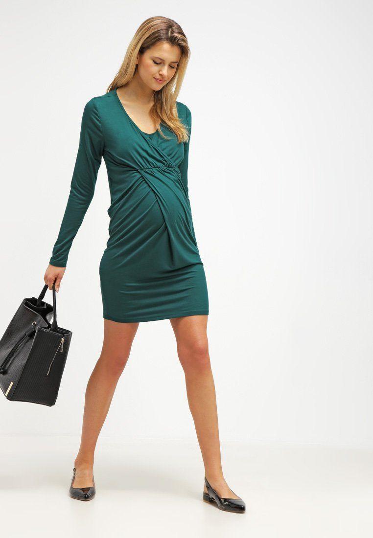 cb4cf3f04 Cómpralo ya!. Esprit Maternity Vestido de algodón dark teal green ...