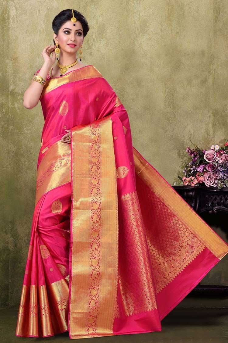Kanjivaram rani color saree sarees pinterest saree
