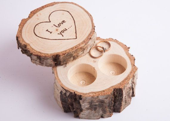 Wooden Ring Box Ring Bearer Pillow Birch Jewelry Box Rustic Wedding Ring Holder Rustic Wedding Decor Engagement Ring Box Ring Pillow With Images Vyzdoba Sperkovnice Polstare