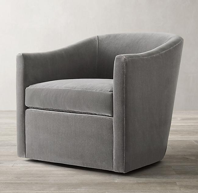 Oliver Barrelback Slope Arm Swivel Chair In Vintage Velvet Fog 1 571 In 2020 Swivel Chair Living Room Upholstered Swivel Chairs Swivel Chair #swivel #chairs #living #room #upholstered