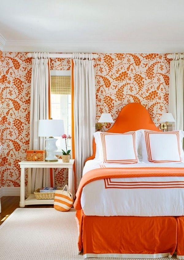 Bonitos papeles pintados para dormitorios color naranja for Dormitorio naranja