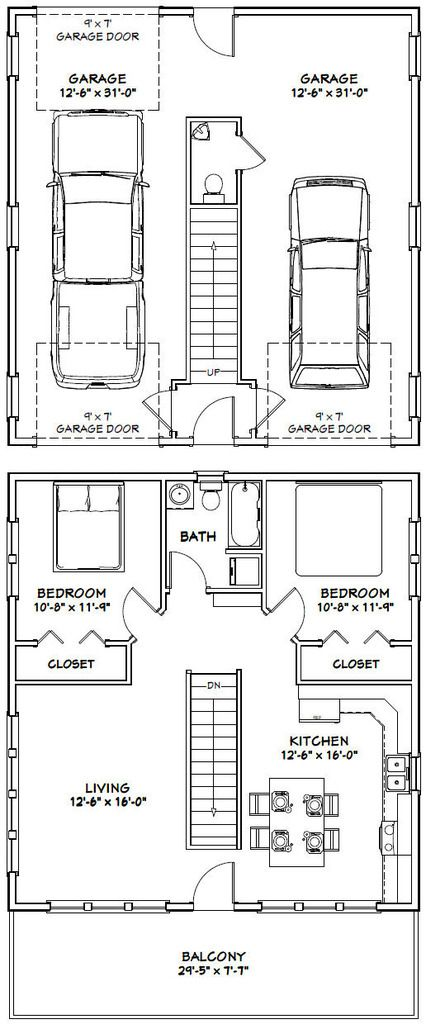 30x32 House 30x32h1d 961 Sq Ft Excellent Floor Plans Garage Floor Plans House Floor Plans House Plans
