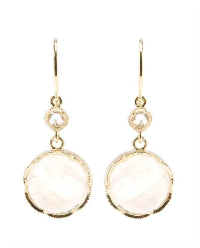 Irene Neuwirth. Luminescent moonstones bezel set in 18k yellow gold drop earrings in a rose cut diamond. An alluring feminine earrings, a special piece to love forever.