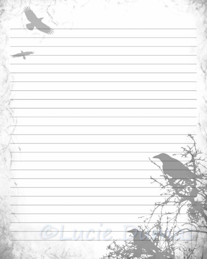 Digital Printable Journal Page Stationary 8x10 JPG Download Lined Paper  Design 43 Crow Bird Raven Gray  8x10 Resume Paper