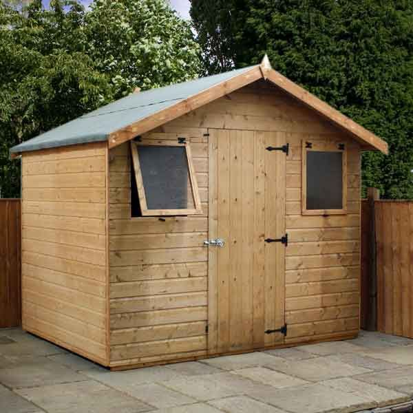 8 x 6 shiplap full tongue groove apex wooden garden sheds easy fit roof