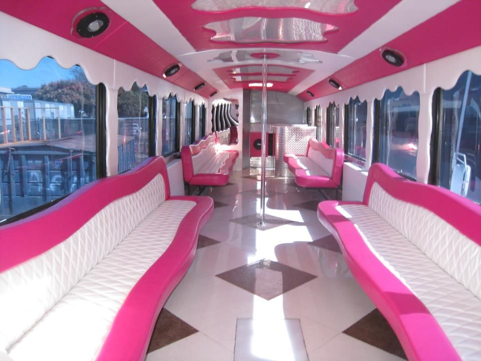 Beautiful pink party bus for rent 55 passengers with