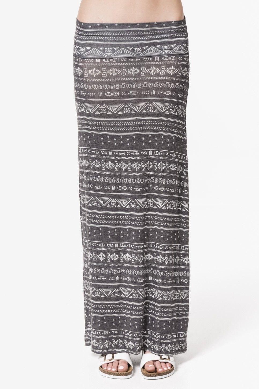 Heather grey tribal print slim maxi skirt - Clothing