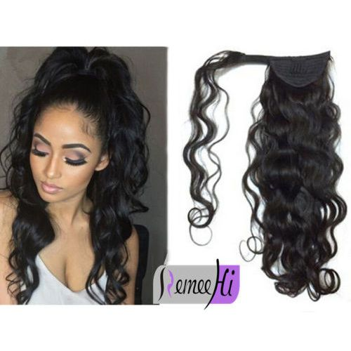 Curly Wave Remy Human Hair Clip In Ponytails 100g Human Hair