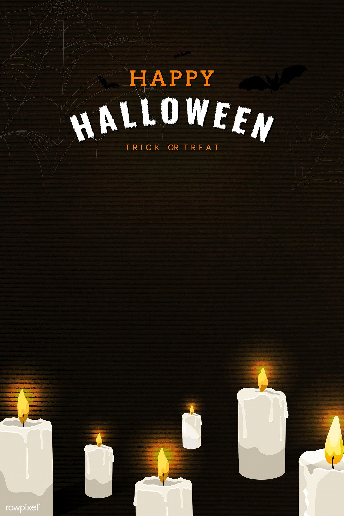 Happy Halloween candle elements on black background vector