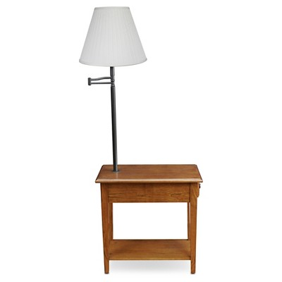 Swing Arm Lamp Chairside End Table Oak Leick Furniture