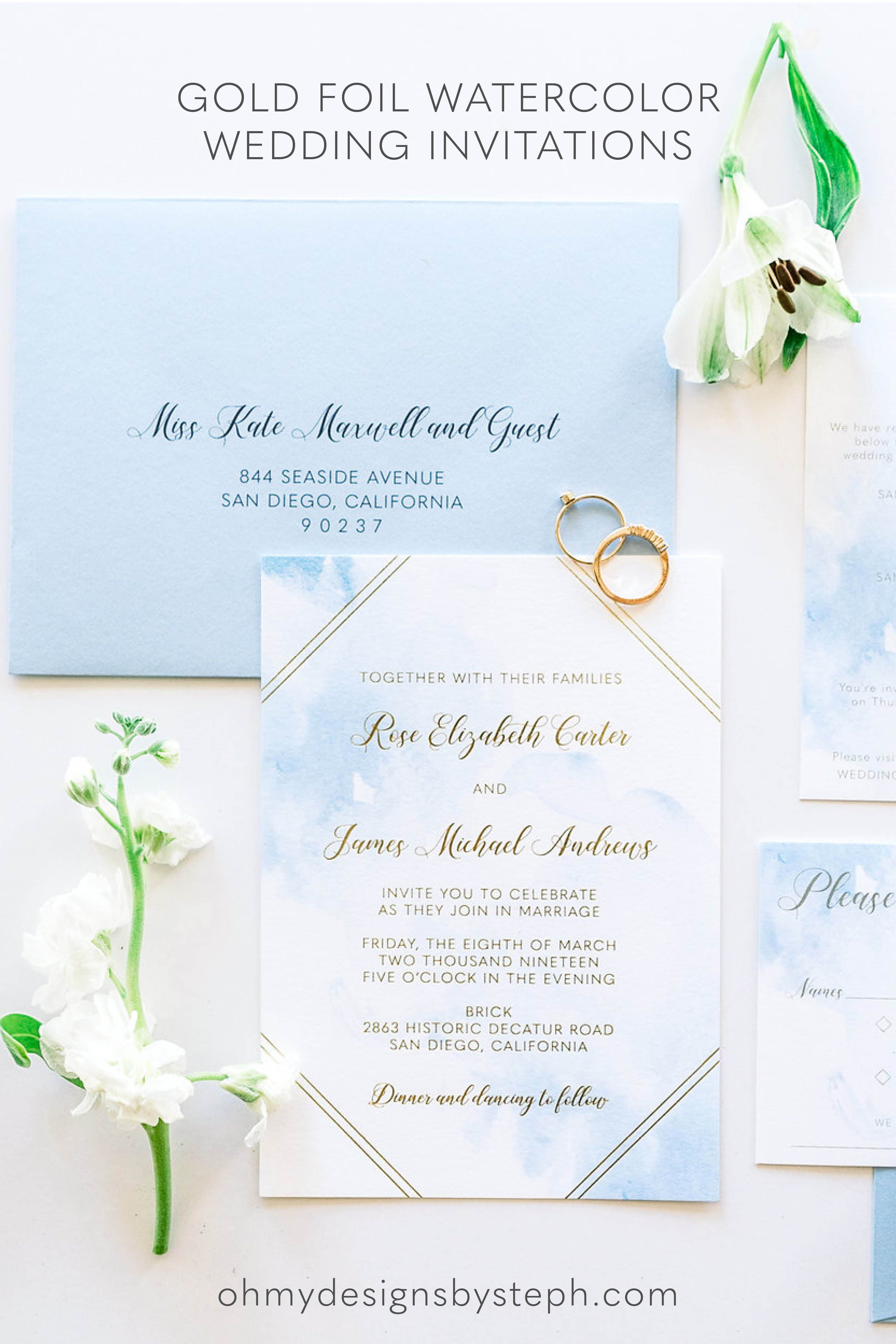 Gold Foil Watercolor Wedding Invitation Sample Watercolor