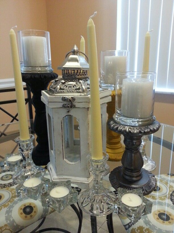 Dollar Store And Diy Candle Dining Table Centerpiece