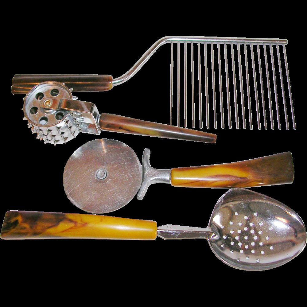 Vintage Mid Century Bakelite Handle Collection Of Uncommon Kitchen