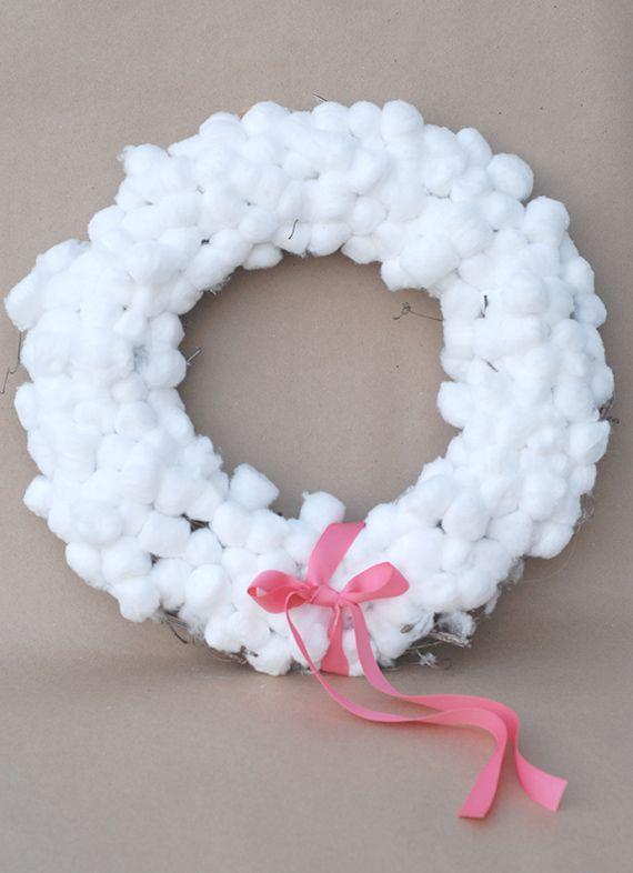 Cotton Ball Wreath Ball Wreath Cotton Ball Activities Cotton Ball