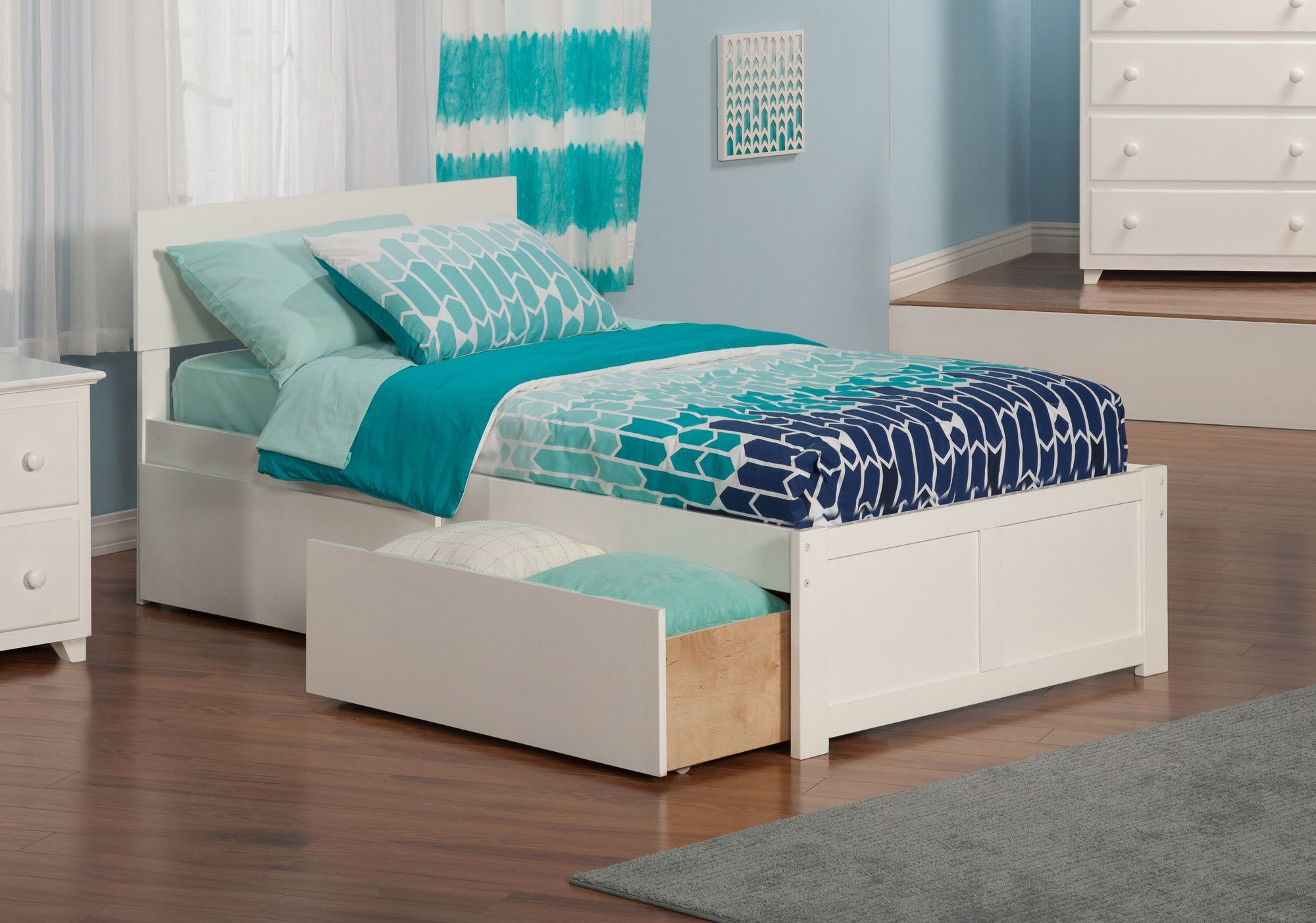 Orlando Extra Long Twin Panel Bed with Storage Bed with