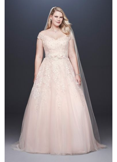 Off The Shoulder Applique Plus Size Wedding Dress David S Bridal Wedding Dress Styles Ball Gowns Wedding Davids Bridal Wedding Dresses
