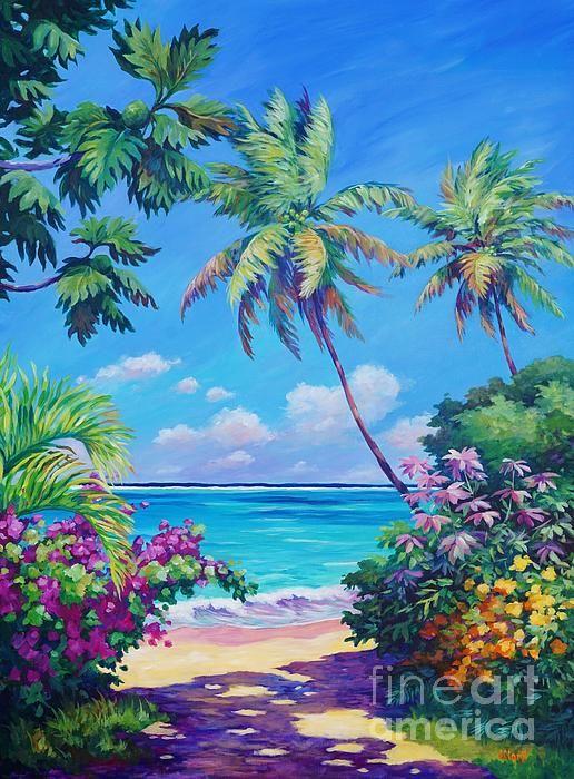 Ocean View With Breadfruit Tree Caribbean Art Tropical Art Island Art