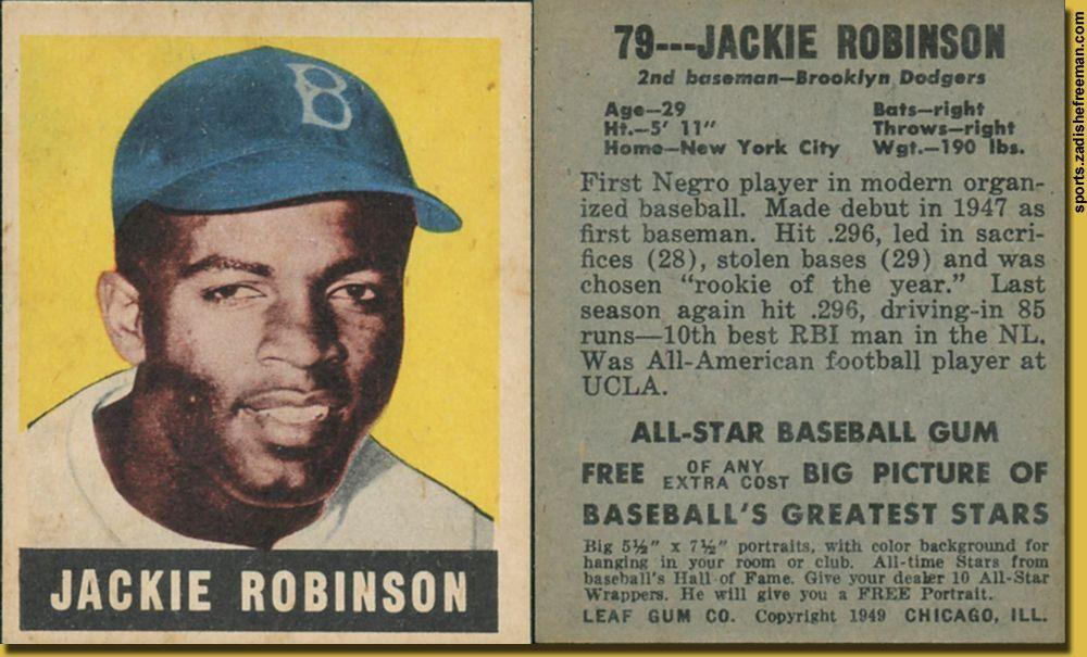 Jackie Robinson rookie card. Greatness Old baseball