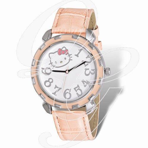 Hello Kitty Silver-Tone Pink Enamel Faux Leather Watch