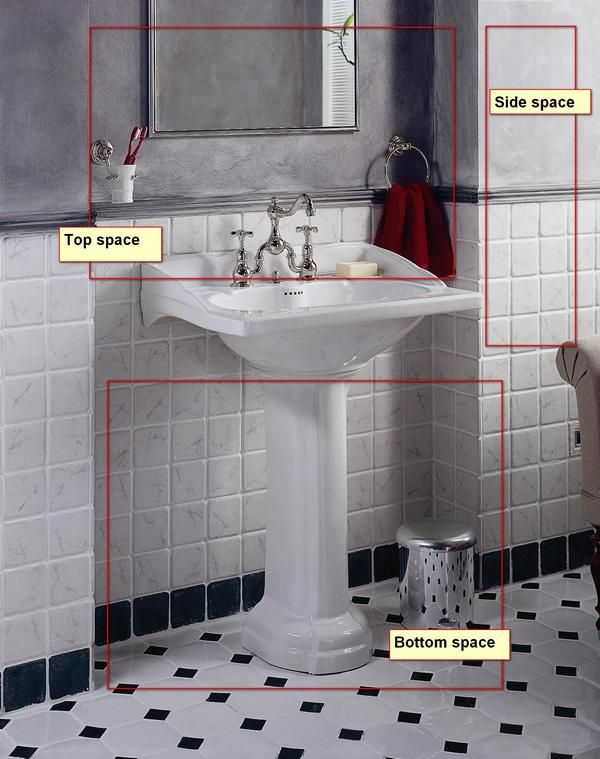 Small Spaces · Pedestal Sink: Maximize Storage By Utilizing Area Under,  Above U0026 To The Side Of