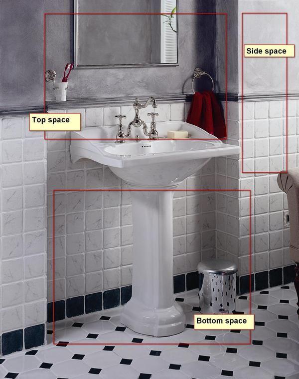 Pedestal Sink Space Ideas Bathroom Tile Designs Small Bathroom