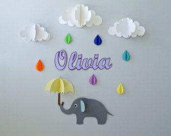 Custom Name Wall Art Elephant Raindrops And Clouds Decor Decal Nursery