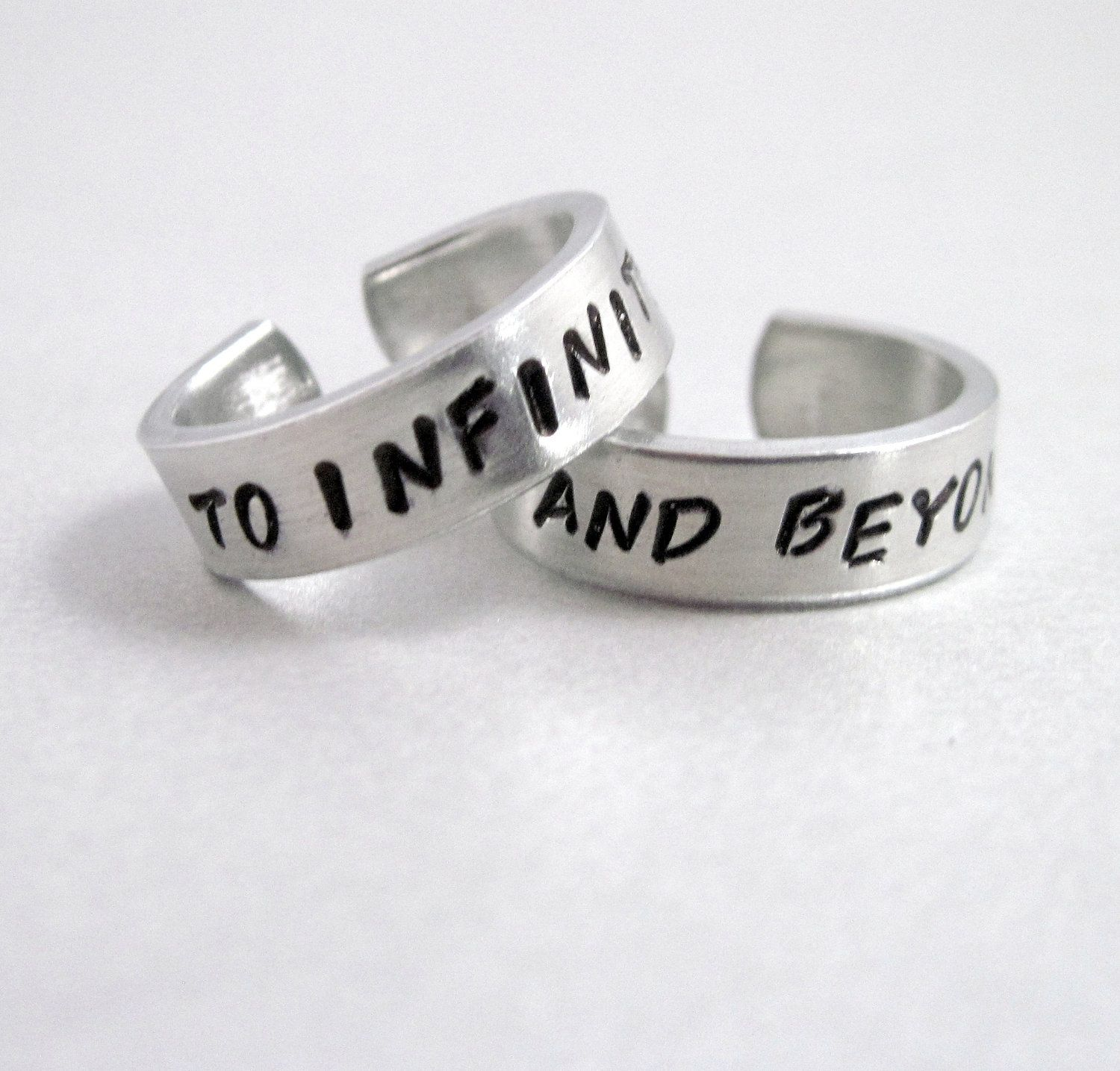 To Infinity and Beyond Set of TWO Rings Hand Stamped Aluminum
