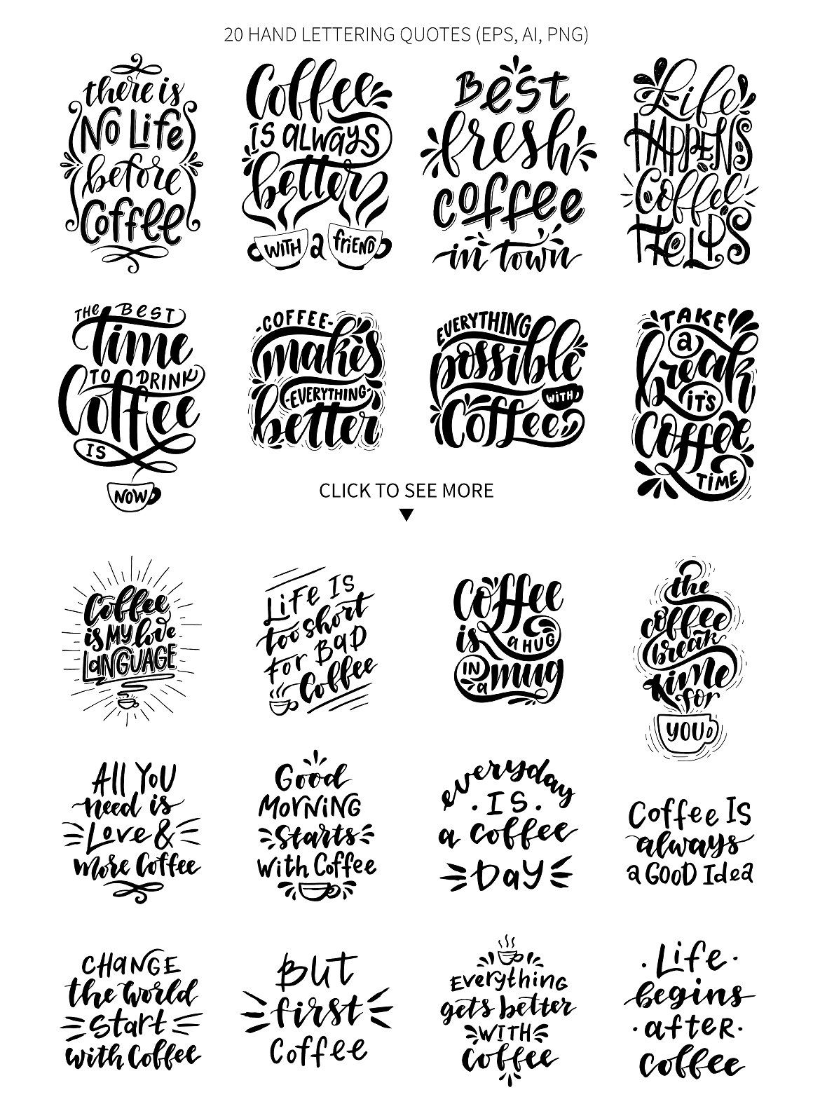 Download Svg Bundle – Set Of Hand Lettering Coffee Quotes Design