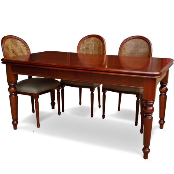 Mesa comedor Victoriana + 6 sillas Luis XVI en Betty&Co