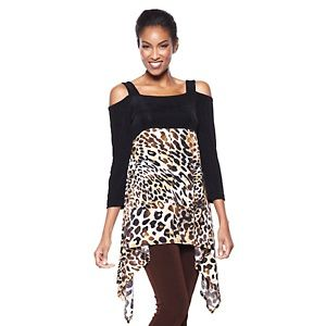 Slinky® Brand Cold Shoulder Scarf-Print Tunic at HSN.com. #HSN and #FallFashion