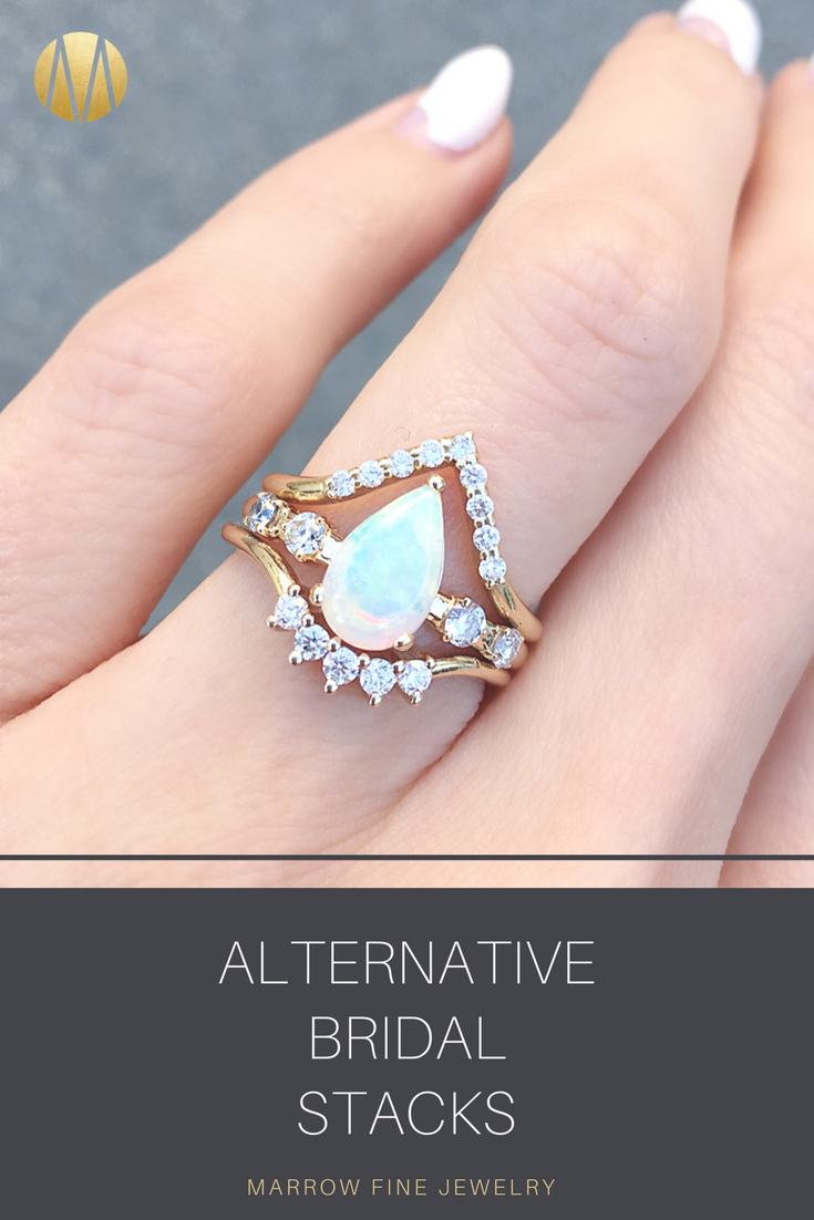 Create a STUNNING bridal ring stack with some of our eye-catching ...