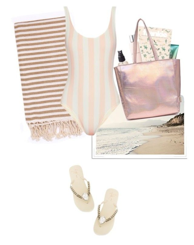 """Summertime"" by nediam ❤ liked on Polyvore featuring Olivine, Turkish-T, Solid & Striped, Lancôme, Giuseppe Zanotti, Summer, bikini, pastel and polyvoreeditorial"