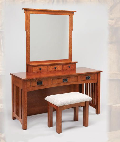 Mission Amish Oak Dressing Table | Amish Furniture | Solid Wood Mission  Shaker Furniture | Chicago Area, Illinois