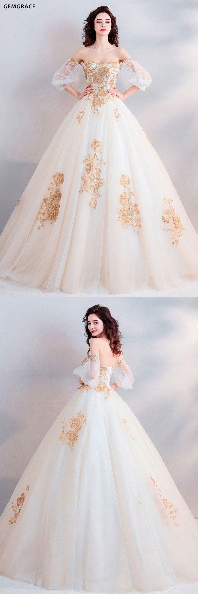 $ 181.8, klassisches Gold mit weißem Ballkleid Prinzessin Brautkleid aus …