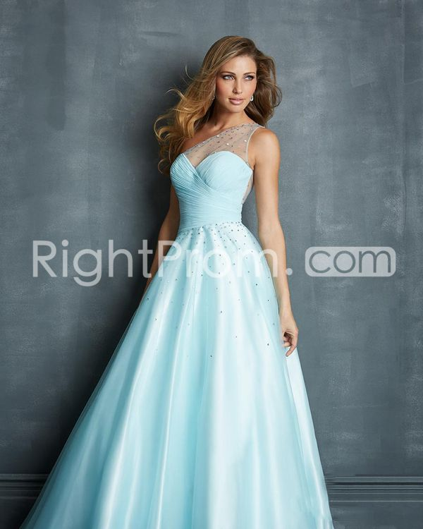 2014 Floor-length One Shoulder Tulle Ball Gowns / Prom Dresses