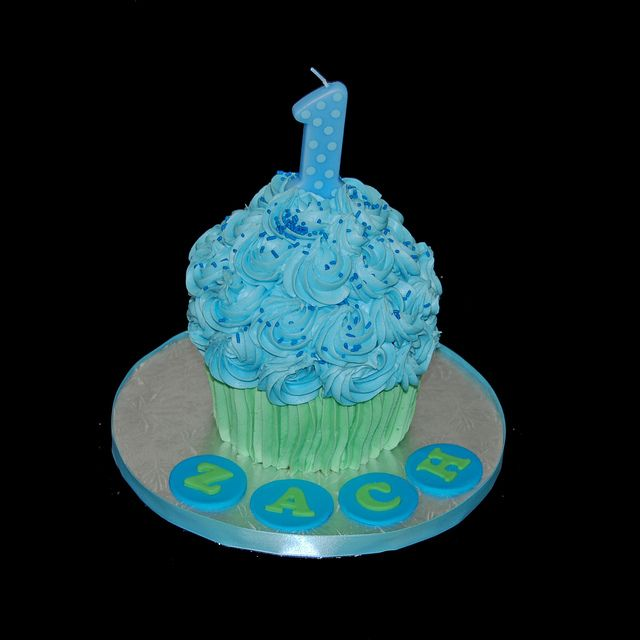 Giant Cupcake Cake First Birthday Smash Cake Blue And Green Giant