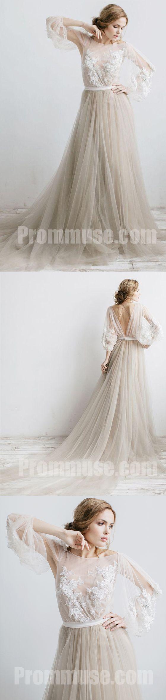 Charming long sleeves v back tulle applique long prom dresses